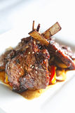 Lamb chop. With sesame and sweet pepper on the dish Royalty Free Stock Photo