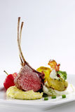 Lamb chop. Grilled lamb chop with purree Royalty Free Stock Image