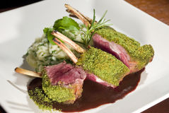 Lamb Chop in Herb Crust. Grilled Lamb Chop in Herb Crust with arugula risotto and demi glace sauce royalty free stock photos