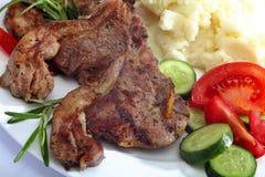 Lamb chop meal close-up Royalty Free Stock Photography