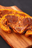 Lamb chop mint sauce chopping board Stock Images