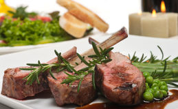 Lamb Chop and Salad Stock Image