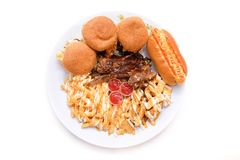 Lamb chop set with burger and french fries stock image