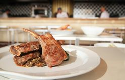 Lamb chop steak. Photograph of lamb chop steak Stock Photos