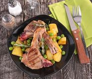 Lamb chop and vegetables Royalty Free Stock Photo