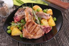 Lamb chop and vegetables Stock Images