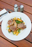 Lamb Chops. With potatoes and french peas Royalty Free Stock Photo