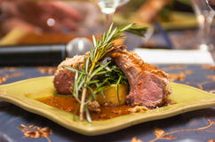 Lamb chops. Served and ready to be eaten stock photos