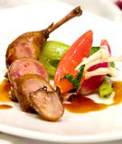 Lamb Chops. Served with zucchini and peppers stock images