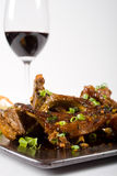 Lamb chops. And meat cooked in chinese soy sauce with red wine royalty free stock photo