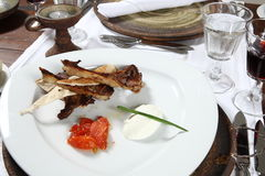 Lamb Chops. Served on a white plate stock image