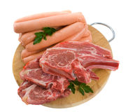 Lamb Chops and Beef Sausages Royalty Free Stock Image