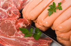 Lamb Chops and Beef Sausages Stock Photo