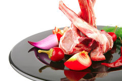 Lamb chops on black Royalty Free Stock Images