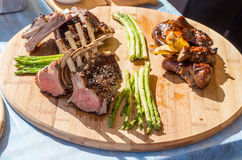 Lamb chops cooked on the grill Stock Image