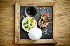 Lamb chops with couscous Royalty Free Stock Photo