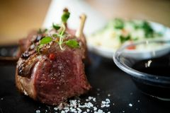 Lamb chops with couscous Stock Image