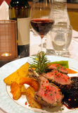 Lamb chops entree. Lamb entree in a classy fine dining restaurant Stock Photos