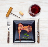 Lamb Chops with Glass of Red Wine Stock Photo