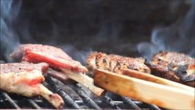 Lamb chops on grill, BBQ stock video footage