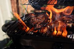 Lamb chops with mint marinade cooking on a barbecue Stock Photography