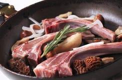 Lamb chops and mushrooms Royalty Free Stock Images