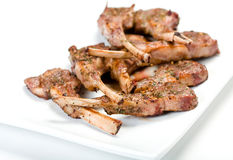 Lamb Chops On Platter Royalty Free Stock Images