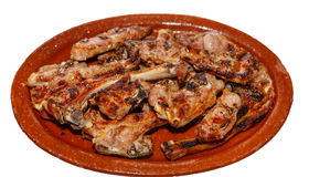 Lamb chops on pottery Stock Images