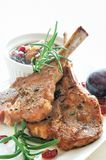 Lamb Chops with Prune Chutney. Rosemary lamb chops with prune, shallot and cranberry chutney Stock Photos