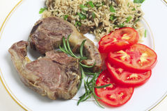 Lamb chops and rice high angle Stock Photo