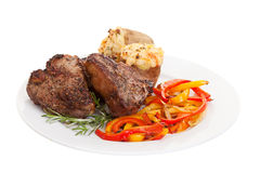 Lamb Chops. Roasted Lamb Chops with Vegetables, Herbs and spices Stock Photography