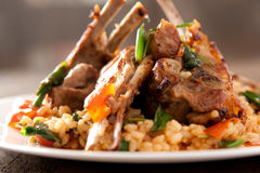 Lamb Chops with spicy rice Stock Images