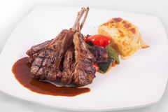 Lamb chops steak with sauteed vegetables and mashed potato Royalty Free Stock Photography