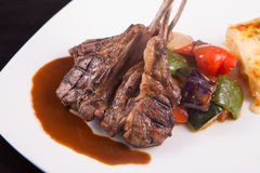 Lamb chops steak with sauteed vegetables and mashed potato stock photo