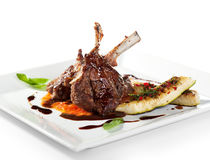 Lamb Chops and Vegetables Stock Photography