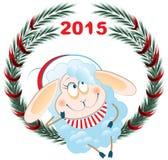 Lamb and Christmas wreath. Symbol 2015. Vector cartoon illustration Royalty Free Stock Photos
