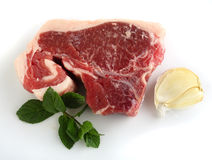 Lamb chump chop, garlic and mint Stock Images