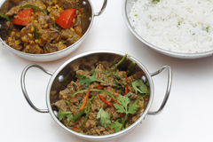 Lamb curries with rice. A bowl of spiced lamb curry with coriander leaves and slivers of red and green chillies, next to a bowl of Lahore-style lamb curry with stock image