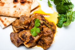 Lamb curry cirrander and Naan close up Royalty Free Stock Images