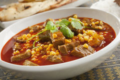 Lamb Curry with Naan Bread Royalty Free Stock Photography