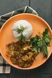 Lamb curry with rice above view Stock Photos