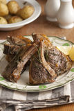 Lamb cutlets. Rosemary and garlic lamb cutlets on a plate Royalty Free Stock Image