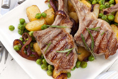 Lamb Cutlets Dinner Stock Photo