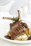 Lamb Cutlets with Mashed Potato and Gravy.  Royalty Free Stock Images