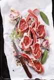 Lamb cutlets on a metal tray Stock Images