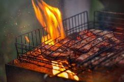Lamb cutlets are roasted in a grill. Over an open fire stock images
