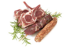 Lamb Cutlets Souvlaki and Kofta with Rosemary Isolated Royalty Free Stock Photo