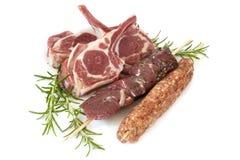 Lamb Cutlets Souvlaki and Kofta with Rosemary Isolated. Lamb cutlets, souvlaki and kofta, with rosemary, isolated on white Royalty Free Stock Photo