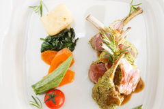 Lamb cutlets and vegetables. Overhead view of a serving of medium-rare grilled lamb cutlets in a sauce garnished with fresh rosemary and vegetables on a plate stock images