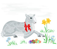 Lamb and daffodil. Vector background eps 8 without gradients royalty free illustration